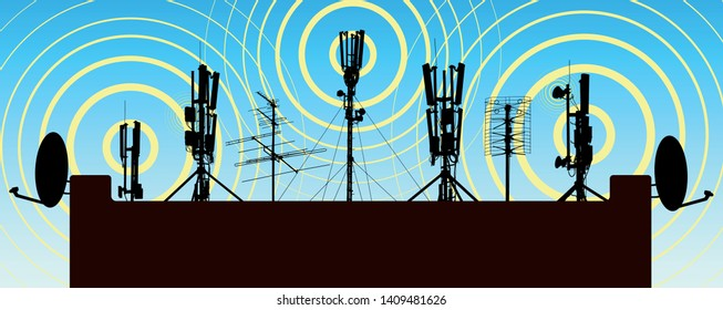 Radio towers on the roof of the house. Antenna on the house. Repeater radiant