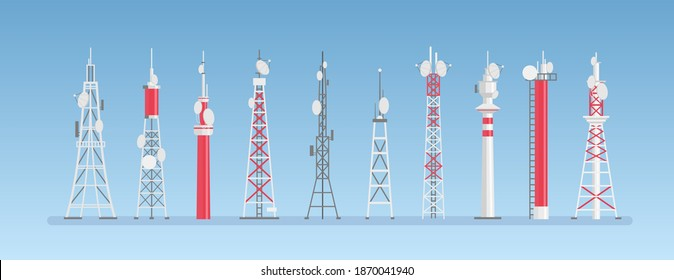 Radio towers vector illustration. Cartoon towered antenna constructions for cell telecom communication, mobile network wireless station or radar signal. Flat towering broadcast building equipment set