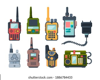 Radio transceiver. Talk devices for military police or travellers garish vector set