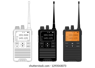 Radio transceivers. Vector illustration isolated on white background