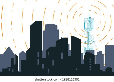 Radio transmitter. Tower with tv signal transmitter. City with buildings and skyscrapers on background. Flat style line vector illustration.