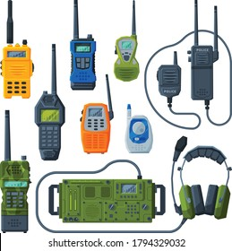 Radio Transmitters Collection, Modern Handheld Portable Devices, Walkie Talkie Flat Vector Illustration