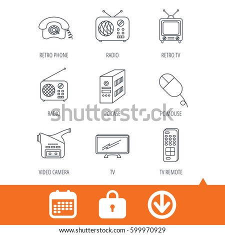 Radio TV Remote Video Camera Icons Stock Vector (Royalty Free