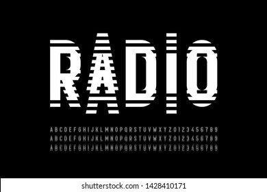 Radio wave style font, alphabet letters and numbers vector illustration