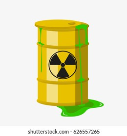 Radioactive barrel. Vector. Isolated.
