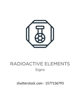 Radioactive elements icon. Thin linear radioactive elements outline icon isolated on white background from signs collection. Line vector sign, symbol for web and mobile