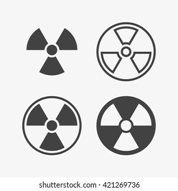 Radioactive Icon in trendy flat style isolated on grey background. Hazard symbol for your web site design, logo, app, UI. Vector illustration, EPS10.