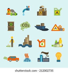 Radioactive nucleus waste and batteries disposal diffuse environment contamination symbols pictograms flat abstract collection isolated vector illustration