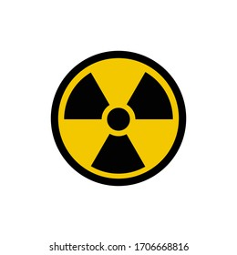 radioactive sign in grunge style. Vector illustration on a white background.