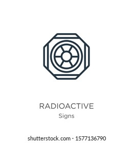 Radioactive symbol icon. Thin linear radioactive symbol outline icon isolated on white background from signs collection. Line vector sign, symbol for web and mobile