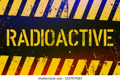 Radioactive warning sign. Nuclear power danger symbol with yellow and  hazard black stripes. Vector Illustratio.