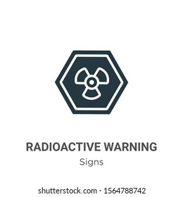 Radioactive warning vector icon on white background. Flat vector radioactive warning icon symbol sign from modern signs collection for mobile concept and web apps design.