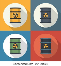 Radioactive waste in barrel round icon flat style with long shadows.