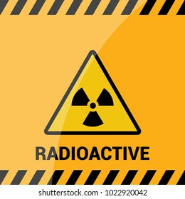 Radioactive zone, vector sign or symbol. Warning radioactive zone in triangle icon isolated on yellow background with stripes. Radioactivity. Dangerous