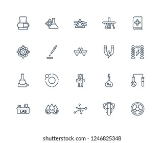 Radioactivity, Chemistry, Cells, H2o, Lab, Science book, Magnet, Droid, Volumetric flask, Dropper, Refraction outline vector icons from 20 set