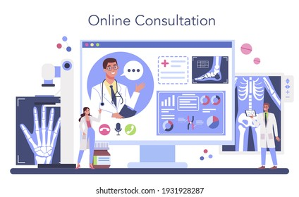 Radiologist online service or platform. X-ray, MRI and ultrasound image of human body. Online consultation. Isolated flat vector illustration