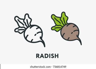 Radish Plant Vegetable Farm Minimal Flat Line Outline Colorful and Stroke Icon Pictogram