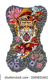 raditional Japanese tattoo design for back body.Tiger face with koi dragon on cloud background.Koi fish with tiger roaring tattoo.peach with peony and plum flower on cloud background.
