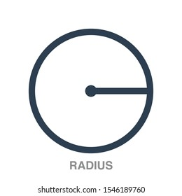 Radius flat icon on white transparent background. You can be used radius icon for several purposes.