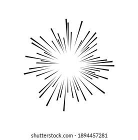 The radius of the sun or the sun bursting on white background