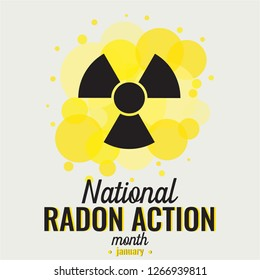 Radon Action month card or background january. vector illustration.
