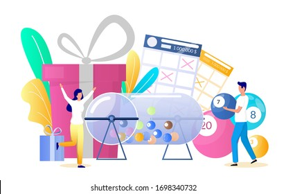 Raffle drum with balls, gift boxes, lucky woman playing bingo lotto game and winning prize, vector flat illustration. Lottery gambling, bingo prize draw concept for web banner, website page etc.