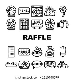 Raffle Lottery Game Collection Icons Set Vector. Raffle Car And Win Money Gambling, Bingo Card And Kegs, Wheel Of Fortune And Ticket Concept Linear Pictograms. Contour Illustrations
