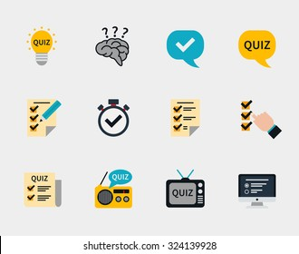 Raffle prizes and quiz flat icons. Answer and question, exam text, ask and winner, vector illustration
