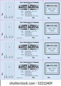 raffle ticket 3 part vector template stock vector royalty free