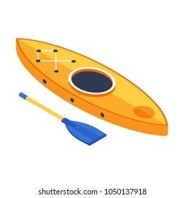Rafting boat in isometry style. Isometric kayak icon. Canoe with paddle in 3d perspective.