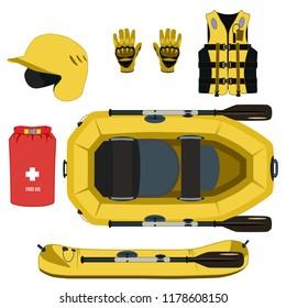 Rafting equipment and protective gear icon set. Rubber raft inflatable boat with paddle helmet gloves, first aid dry bag, inflatable life jacket. Vector flat illustration isolated on white background.
