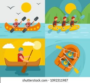 Rafting kayak water canoe river banner concept set. Flat illustration of 4 rafting kayak water canoe river vector banner concepts for web