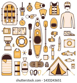 Rafting and kayaking icons. River camping outdoor design elements. Rafting equipment and gear flat icon set. Boat river hike accessories. Canoeing adventure trip collection in line art.