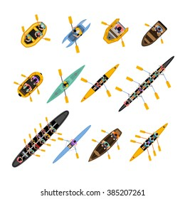 Rafting kayaking top view set with boats of different forms and colors with people inside isolated vector illustration
