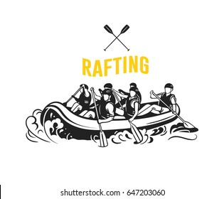Rafting logo with rafting boat and people with oars. Vector logotype. Black and white sport  icon.