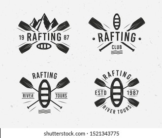 Rafting logo set with raft, crossed paddles and mountains silhouettes. Vintage typography. Vector illustration
