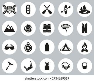 Rafting Or White Water Rafting Icons Black & White Flat Design Circle Set Big