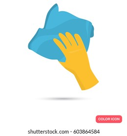 Rag for cleaning in hand color flat icon for web and mobile design