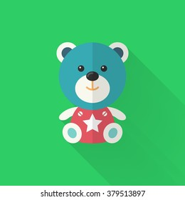 Rag doll icon , Vector flat long shadow design. Children's toys concept.