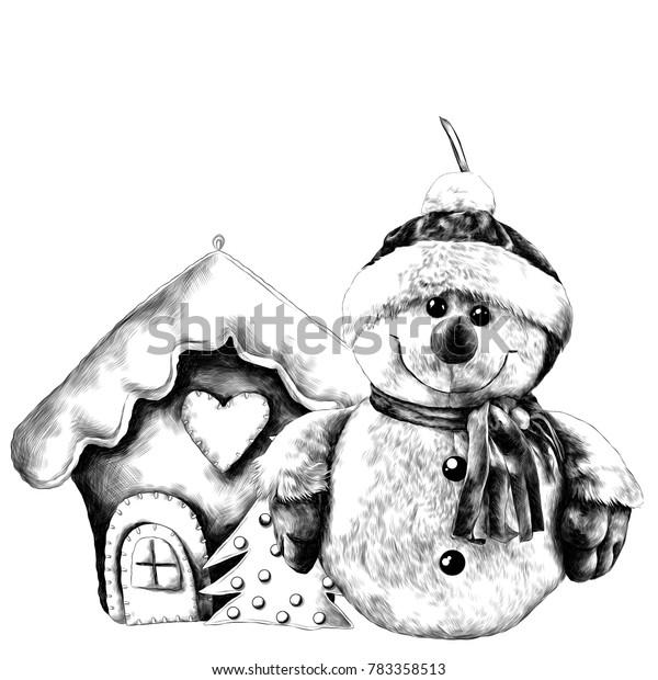 Christmas House Drawing.Rag Snowman Christmas House Sketch Vector Stock Vector