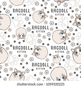 Ragdoll : Cat breed collection : Seamless Pattern : Vector Illustration