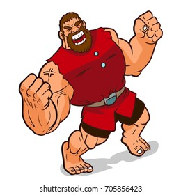 rage giant very emotional feel to show strong in cartoon way