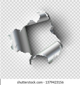 ragged Hole torn in ripped steel metal on transparent background