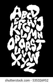 Ragged horror font. Vector alphabet