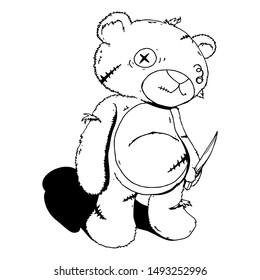 Ragged Teddy Bear carry kitchen Knife hand drawn Cartoon Vector