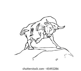 A raging bulla free hand drawn, clean editable vector representing a bull