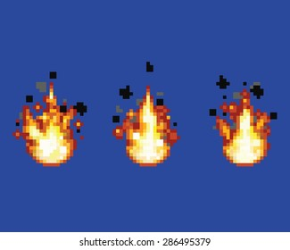 Raging flame - animation frames video game asset pixel art style vector layer illustration