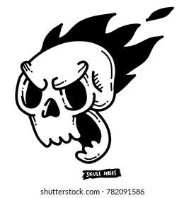Raging skull face. Simple skull face series.