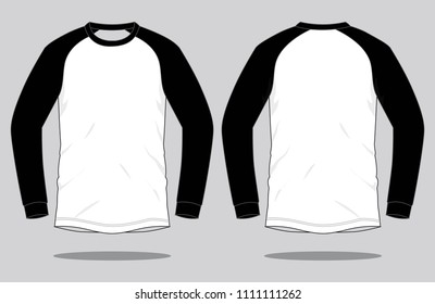 Raglan Long Sleeve T-shirt Design White/Black Colors Vector.Front And Back Views.