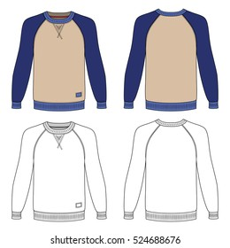 Raglan long sleeve t-shirt outlined template (front & back view), vector illustration isolated on white background